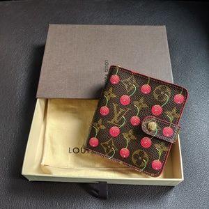 LV Monogram Cherry Compact Zip Wallet
